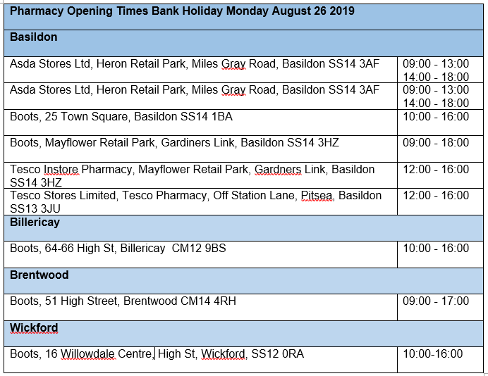 Capture Pharmacy opening times Aug Bank Holiday