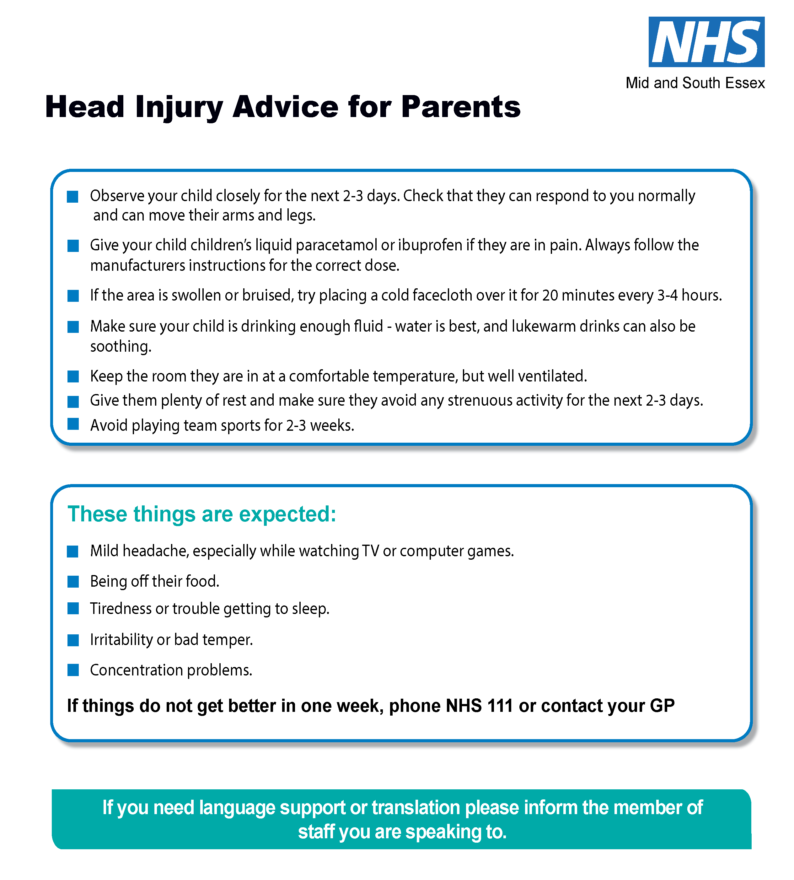 Head injury advice sheet for parents latest version 3 Page 2