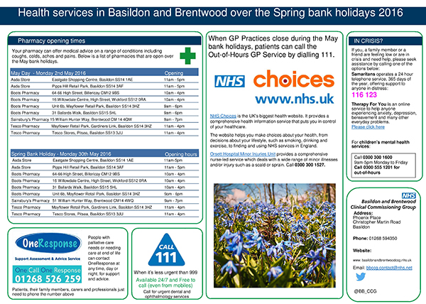 spring bank holidays health advice and pharmacy opening times nhs