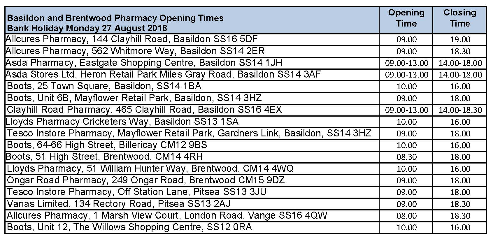 Pharmacy Opening Times Basildon and Brentwood Page 1 crop for website